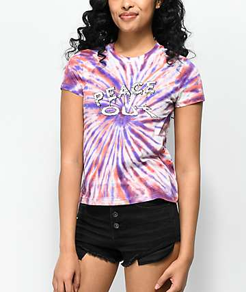 A-Lab Ezra Peace Out Red & Purple Tie Dye T-Shirt