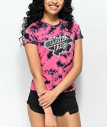 A-Lab Ezra Watch This camiseta con efecto tie dye en rosa y negro