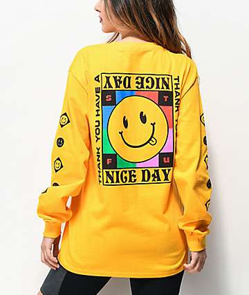 A-Lab Have A Nice Day Gold Long Sleeve T-Shirt