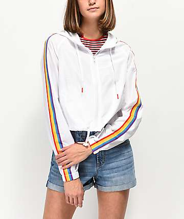 A-Lab Jadia Rainbow Taping White Windbreaker Jacket