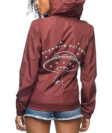 A-Lab Kenlie Far Out Full Zip Burgundy Windbreaker