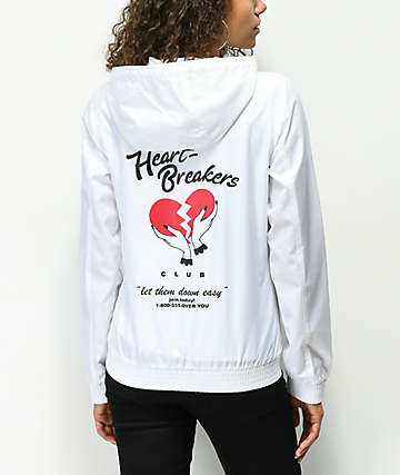 A-Lab Kenlie Heartbreaker White Windbreaker Jacket