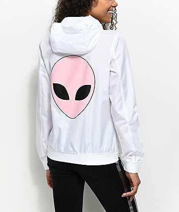A-Lab Kenlie Stay Weird chaqueta cortavientos con cremallera en blanco