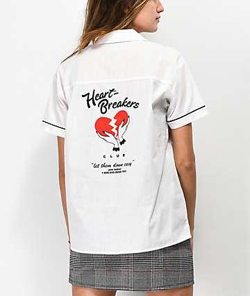A-Lab Kilo Heartbreaker White Tie Front Button Up Shirt