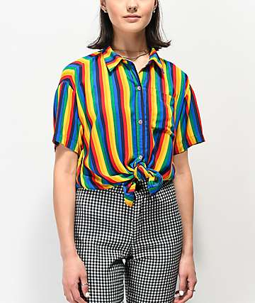 A-Lab Kilo Rainbow Stripe Tie Front Short Sleeve Button Up Shirt