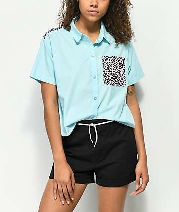 A-Lab Lani Cheetah Crop Short Sleeve Button Up Shirt