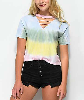 A-Lab Leeandra Cutout Tie Dye Top