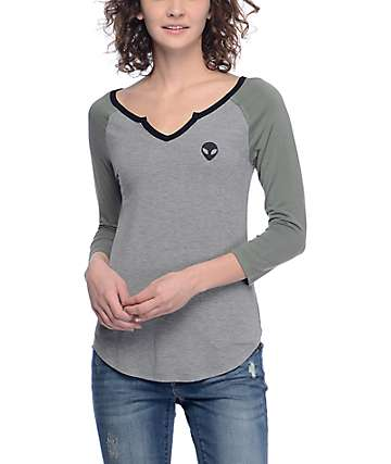 A-Lab Lyndana Alien camiseta béisbol en gris y verde olivo