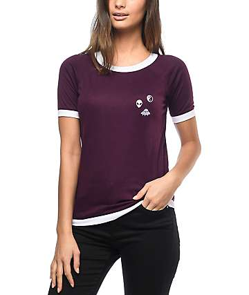 A-Lab Mandy Space Stuff Burgundy Top