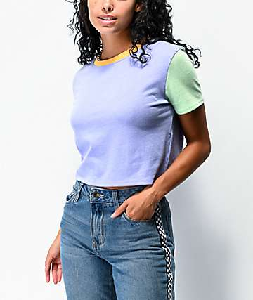 A-Lab Quinnie Colorblock Light Purple Crop T-Shirt