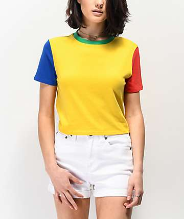 A-Lab Quinnie Yellow, Red & Blue Colorblock Crop T-Shirt