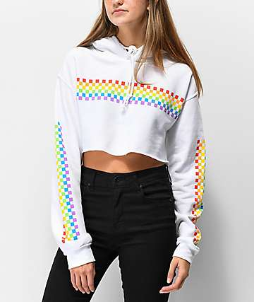 A-Lab Rainbow Check White Crop Hoodie