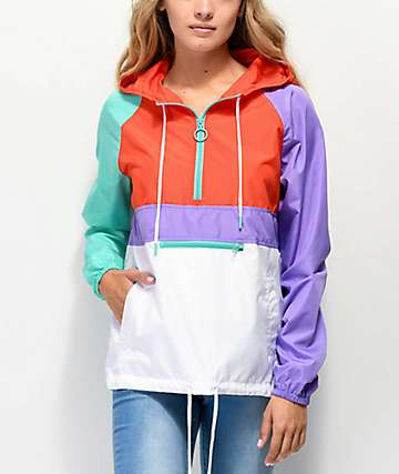 A-Lab Shila Red, Turquoise & Purple Anorak Jacket