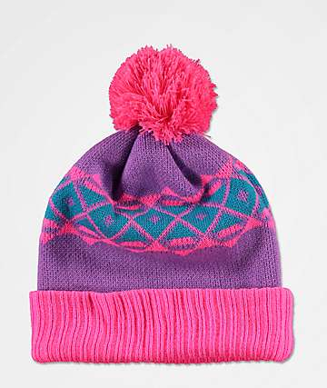 A-Lab Toni Ski Skool Pink & Purple Pom Beanie