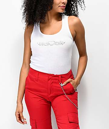 A-Lab Tribal Rhinestone Ribbed White Crop Tank Top