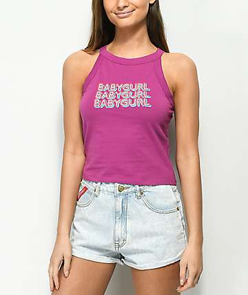 A-Lab Trixie Baby Gurl Violet Crop Tank Top