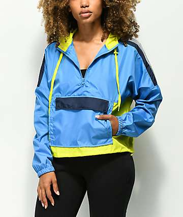 A-Lab Wilder Blue & Green Pullover Windbreaker