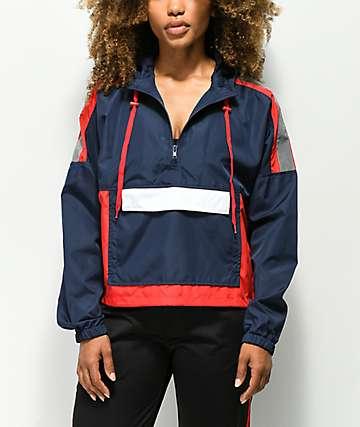 A-Lab Wilder chaqueta cortavientos roja, blanca y azul