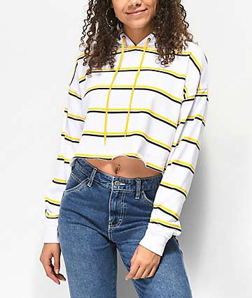 A-Lab Zaira White & Yellow Stripe Crop Hoodie