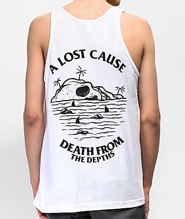 A Lost Cause Depths V2 White Tank Top