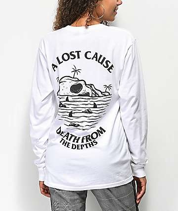 A Lost Cause From The Depths camiseta de manga larga blanca