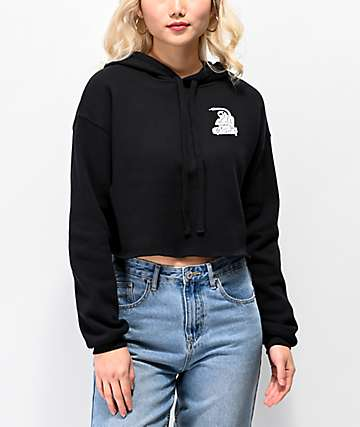 A Lost Cause Rippin Black Crop Hoodie