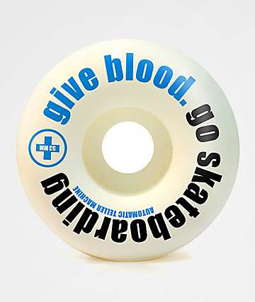 ATM Give Blood 52mm 99a White Skateboard Wheels