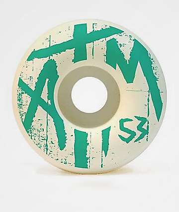 ATM Sketcher 53mm 101a White & Teal Skateboard Wheels