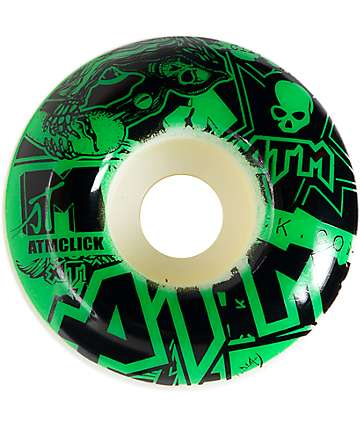 ATM Stickers Green 53mm Skateboard Wheels