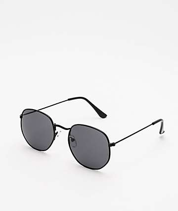 All Black Round Sunglasses