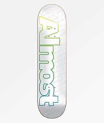 "Almost Faded Outline White 7.75"" Skateboard Deck"