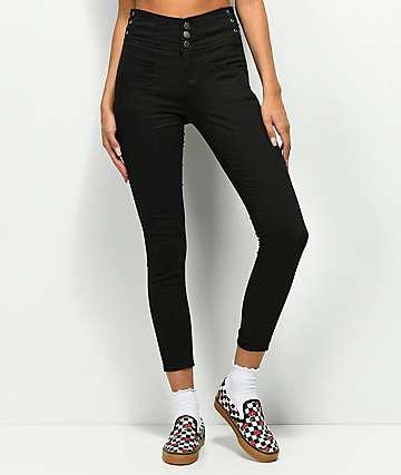 Almost Famous  jeans negros ajustados con cordones laterales
