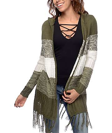 Almost Famous Angie Olive & White Striped Cardigan