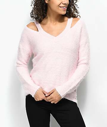 Almost Famous Bea Fuzzy Pink Sweater