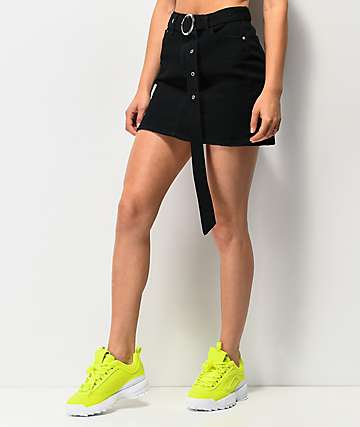 Almost Famous Belted Black Skirt