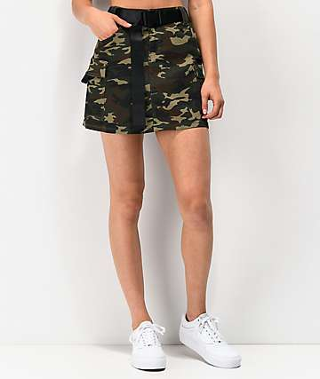 Almost Famous Belted Utility Camo Mini Skirt
