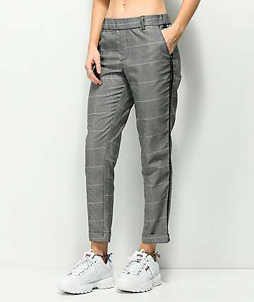 Almost Famous Black & White Plaid Crop Pants