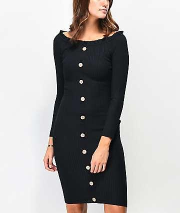 Almost Famous Black Button Front Off-Shoulder Sweater Dress