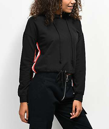 Almost Famous Black Crop Hoodie