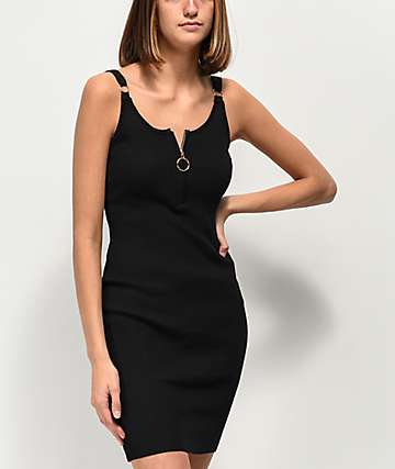 Almost Famous Black Ribbed Sweater Dress