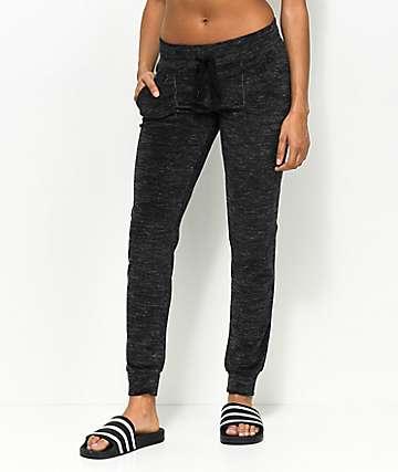 Almost Famous Black Space Dye Jogger Sweatpants