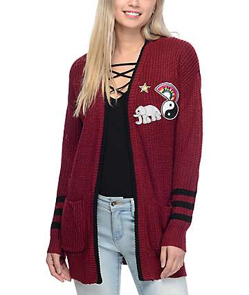 Almost Famous Blaire Burgundy Cardigan