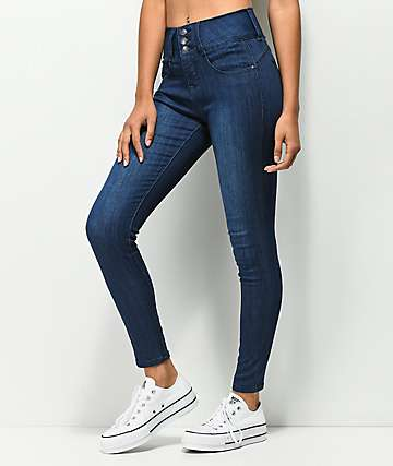 Almost Famous Bombshell jeans ajustados con lavado oscuro