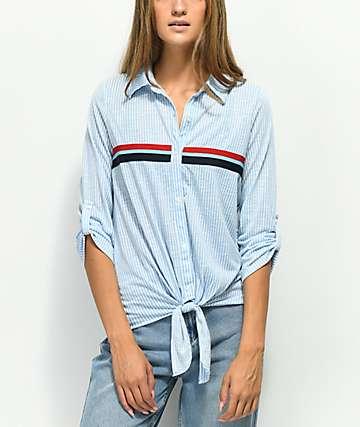 Almost Famous Bree camisa azul de rayas con detalle anudado