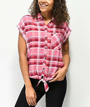 Almost Famous Burgundy Plaid Short Sleeve Button Up Shirt