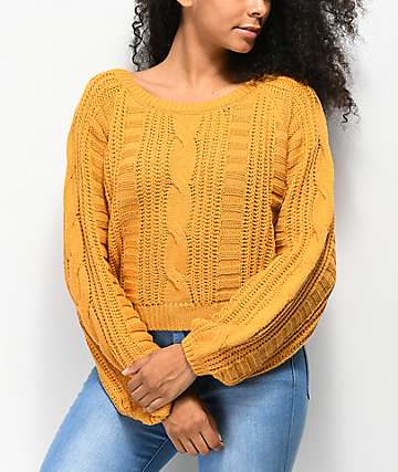 Almost Famous Cable Crew Gold Crop Sweater