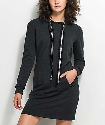 Almost Famous Charcoal Hooded Sweatshirt Dress