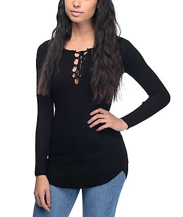 Almost Famous Charlie Lace up Black Sweater