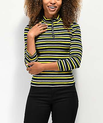 Almost Famous Cora Zip Up Yellow Henley Top
