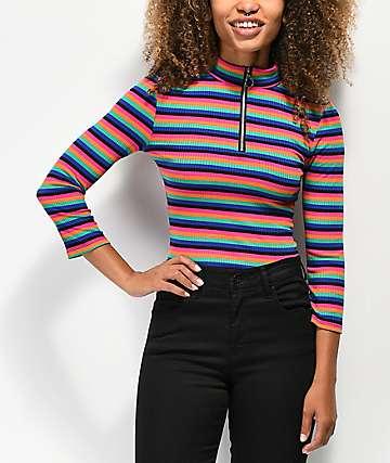 Almost Famous Cora camiseta de rayas multicolor